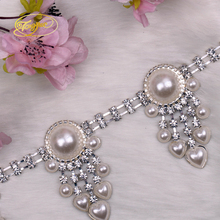 2.9*5.4cm Bling Rhinestone Beaded Clothing Accessories Collar Flower Handmade Heading Lace Trim Patches(China)