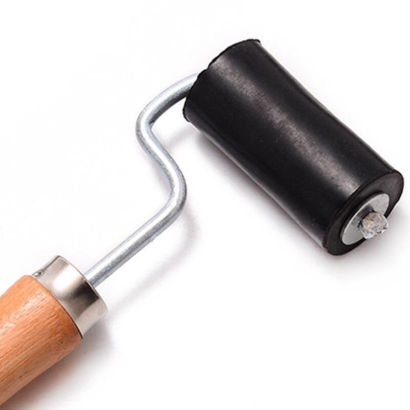 1x 160mm Plastic Welding Roller Brush Black Pressing Wheel for Hot Air Torch Welder Wood Handle Tool Press Wall Paper