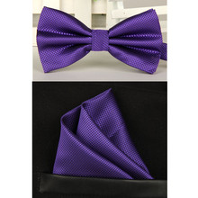 men navy purple bow tie and handkerchief set