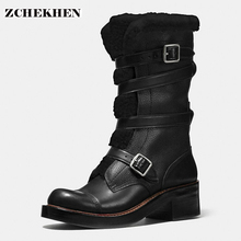 2017 Fashion Botas Mujer synthetic patchwork genuine leather Women's Snow Boots warm fur Boots Women military Boots(China)