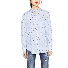 Women office wear cute stars print blouses long sleeve shirts one pocket turn-down collar ladies casual brand tops blusas LT1237