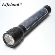 Elfeland Waterproof 7 LED Solar Flashlight Super Bright LED Torch Lamp Travel Light Camping Hiking Flash Light