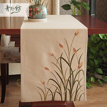New American classical garden Khaki  Embroidery Table Runner table cloth flowers table flag