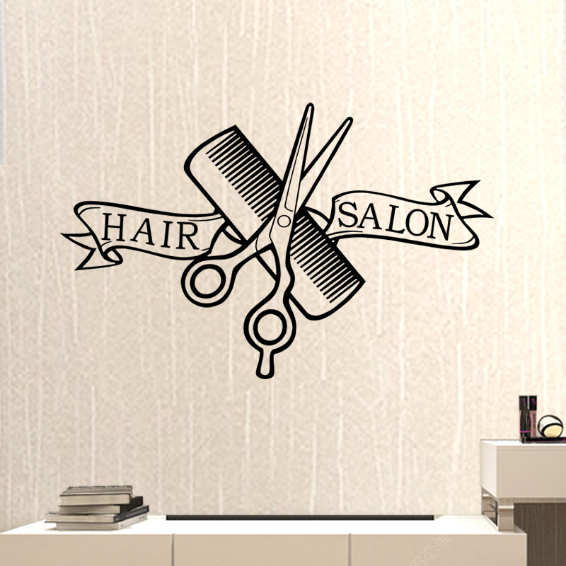 Hair Salon Barber Shop Sticker Scissors Clipper Hair Salon Decal Neutral Haircut Poster Vinyl Wall Decor Windows Decoration