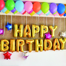 1 Set 16 Inch Happy Birthday Foil Balloons Golden Silver Blue Pink Colorful Party Decoration Balloon Baby Letters Balloon Toys(China)