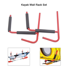 2 Kayak Wall Rack Ladder Wall Mount Storage Hanger Rack Sit On Top Canoe Fixing Mount Kayak Wall Racks Red With Cradle Covers(China)