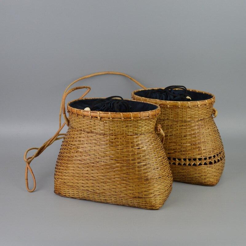 22x18CM Mountain  rattan Handmade Fish Basket Bag Neutral Personality  Small Fresh Bamboo Fashion women Bag 0.15kg light A4179<br>