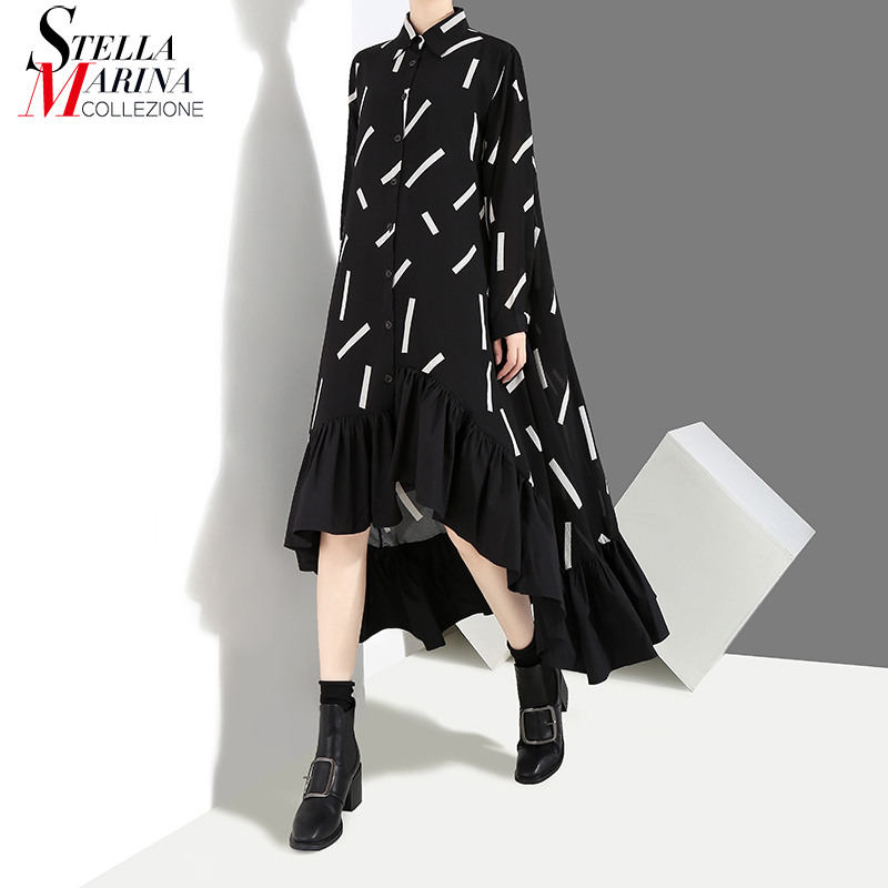 2019 Women Spring Plus Size Black Shirt Dress Geometrical Pattern Ruffle Hem Long Sleeve Loose Lady Party Dresses Clubwear 3907
