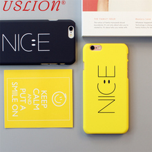 Couple Phone Case For iPhone 5 5s 6 6s 6s Plus 7 7 Plus Fashion Letter NICE Smiling Face Mobile Phone Case Back Cover Bags Shell