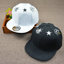 HAPPYTAIL Black White Child Baseball Cap SUN CLOUD STAR Embroidery Simple Design Snapback for Boys and Girls