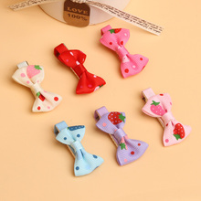 Girls Hair Clips Ribbon Bow Kids Strawberry Satin Bowknot Hairpin 5 Colors(China)