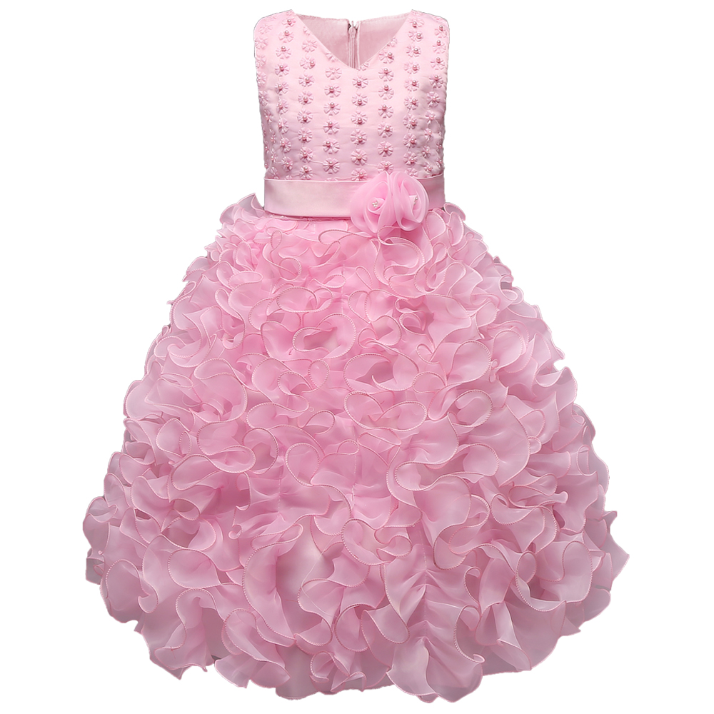 Multi-Tiered Ruffled Flower Princess Gorgeous New Party Dress Girls Clothes 6 7 8 Birthday Wedding Baptism Kids Children Clothin<br><br>Aliexpress