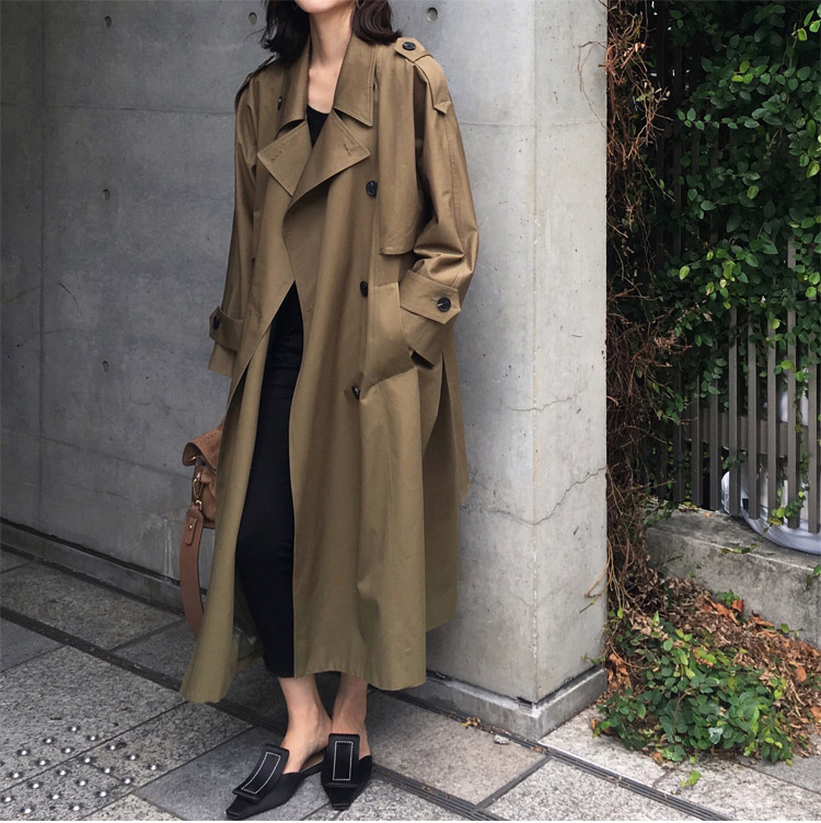 khaki Trench Coat Casual women's long Outerwear loose clothes for lady with belt spring autumn fashion high quality army green 16