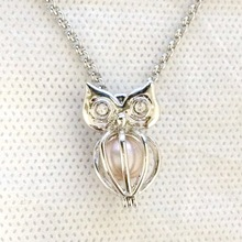 925 Silver Owl Locket Cage, Can Open Pearl Gem Beads Cage Pendant, Sterling Silver Pendant Mounting DIY Jewelry Fitting