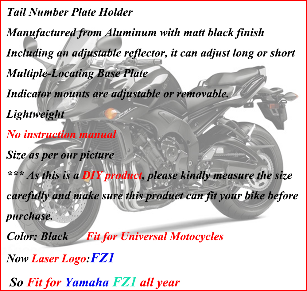 Grey Universal High CNC Billet Motorcycle Tail Tidy Lisence Plate Bracket 1 Pcs