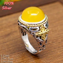 100% Sterling 925 Silver Open Couple Ring Jewelry 13*16/15*15MM DIY BEADS Gemstone Base Tray Antique Silver/Gold