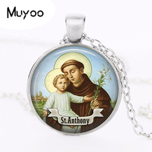 1pcs/lot St Anthony Logo Pendant Necklace Art Handmade Vintage Bronze Chain Choker Statement Necklace Women Jewelry Gift HZ1(China)