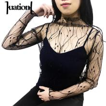 Huation Fashion Sheer Women T Shirt Transparent Sexy Mesh Tops Long Sleeve Ladies Print Grid Shirt Tee Camisetas Femininas Blusa(China)