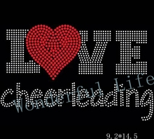 Free shipping love cheerleading red with white  hot fix motif iron on crystal transfers design for sports