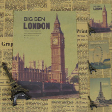 Retro Movie Poster London Big Ben Brown Paper Draw Hanging Picture Comic Painting Core Kraft Paper Home Art Decorative Posters