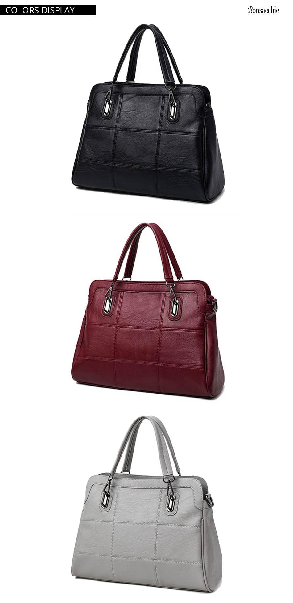 Bonsacchic Fashion Ladies Hand Bag Women's Genuine Leather Handbag Black Leather Tote Bag Bolsas femininas Female Shoulder Bag 7