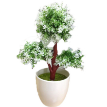 Hot Artificial Tree Plants Bonsai Pine Fake White Vase Mini Tree Real Touch Fake Plant Potted On The Desk Office Christmas