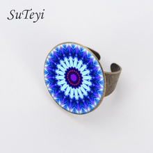 SUTEYE 2017 Vintage Sacred Geometry and Mandala flower Ring Statement Fashion For Women Dress Accessories Jewelry(China)