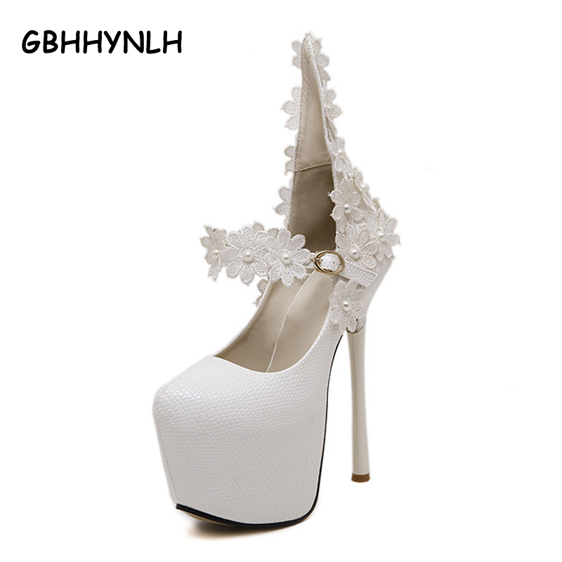 Party evening shoes sexy High Heels women shoes heels  flower Pumps stilettos heels white wedding shoes ankle straps heels LJA78<br>