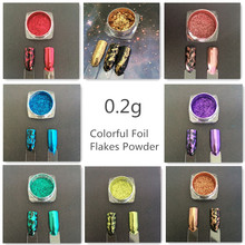 1 BOX 2 Way Platinum Foil Flakes Pigment Mirror & Flake Effect Chrome Nail Powder Glitter Sequins Manicure Gel Nail Polish DIY(China)