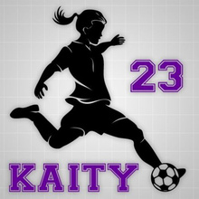 "New Soccer girl wall decal,futbol kicker wall sticker soccer silhouette name decal 20"" H x 24"" W"