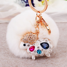 Fine lovely rabbit plush ball crystal car keychain female goat leather bags mobile phone pendant key chain fashion accessories
