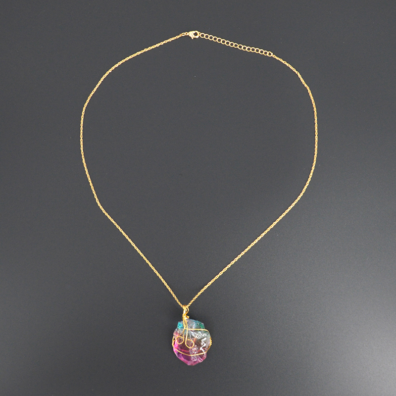 Natrual Rainbow Rhinestone Necklace And Pendants