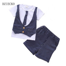 Fashion Childern Clothing Set 2017 Cotton Striped Vest T shirt +Shorts Wedding Formal Clothes for Baby Boys Clothes Summer Wear