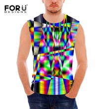 FORUDESIGNS Brand Clothing Tank Top for Men Fitness Apparel Mens Bodybuilding Tank-tops 3D Novelty Multicolor Print Sleeveless
