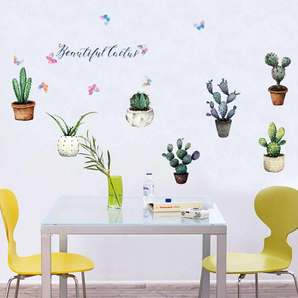 HTB1H0Mthf6H8KJjSspmq6z2WXXaV - Creative Pot Plant Cactus Wall Sticker