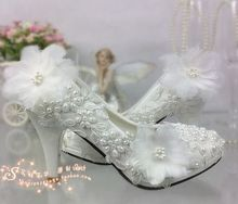 Lace pearl wedding shoes for bridal flower high heeled pump bridal's shoes white party shoes XNA 208XNA 208