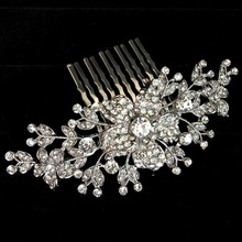 European Design Crystal Bridal Hair Comb Wedding Accesories hair accessories Bride Floral Head Pieces hair jewelry YLQC-001(China)