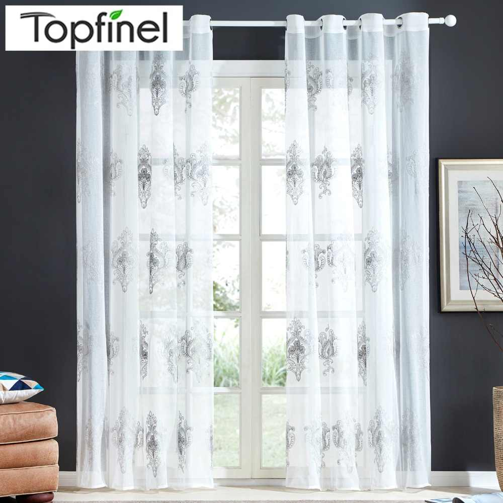 Topfinel New Luxury Embroidered Sheer Curtains Window Tulle Curtains for Living Room Bedroom Kitchen Gauze Voile Curtains White