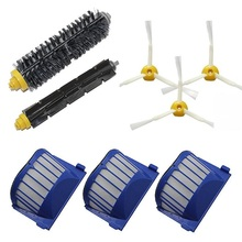 Free Ship rovac Filter+3 Arms Side Brush+Bristle and Flexible Beater Brush for iRobot Roomba 620 630 640 650 660