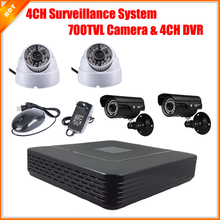 CCTV 4CH Full D1 P2P HDMI H. 264 Mini DVR Video Surveillance System Security System HD CMOS 700TVL IR Camera Kit