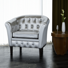 iKayaa  Armchair Chesterfield Silver Single Sofa For Living Room ES Stock Furniture