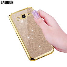 DAGUDON Phone Case For Samsung Galaxy J3 Glitter Bling Gold Silicone Soft TPU Cover For Samsung GALAXY J3 2016 Skin J310 J310F(China)