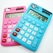 2018 New Cartoon Mini Desktop Calculator Hello Kitty & Doraemon Dual Power 8 Display LED TAX Calculadora Cientifica for Student(China)