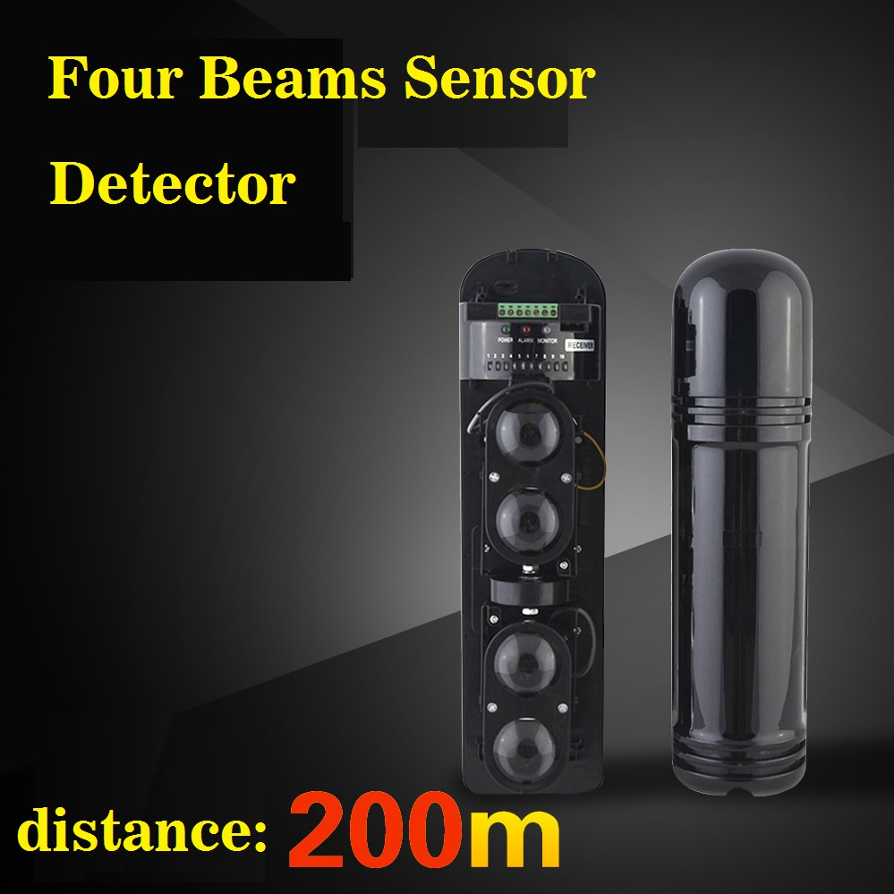 Anti-intrusion Four Beams Intelligent IR Photocell Sensor , Outdoor Detctor distance : 600M For Home Alarm Systtem<br>