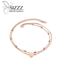 Buy SIZZZ 2017 New Fashion Hot Selling Double Titanium Heart Gold Color Chain Bracelets Women for $4.99 in AliExpress store