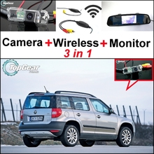 3 in1 Special Rear View Camera + Wireless Receiver + Mirror Monitor DIY Back Up Parking System For Skoda Yeti 5D SUV 2010~2014
