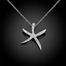 2017 Fashion Jewelry Seastar Shinny Silver Necklace Rhinestone Classic Lady Pendent Necklace Women Gift Statement JewelryN1007