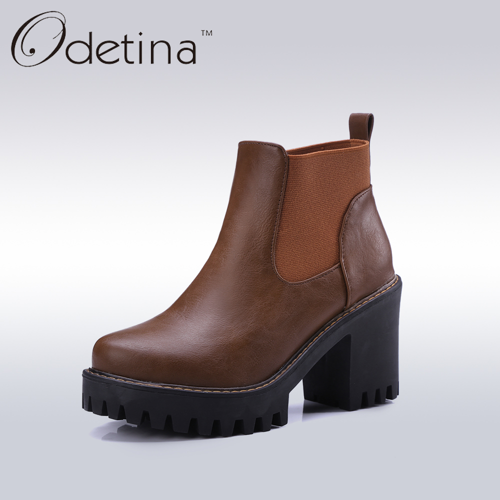 Odetina Fashion Women Platform Square Heel Chelsea Boots Women Brown High Heels Ankle Booties Spring&amp;Autumn Female Casual Shoes<br>