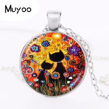 Buy Black Cat Sea Flowers Photo Necklace Sun Pendant Animal Jewelry Glass Dome Silver Plated Sweater Chain Necklace HZ1 for $1.39 in AliExpress store