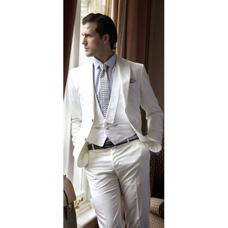 Mens Fashion Ivory Wedding Suits For Men Slim Fit Tailor Made Groom